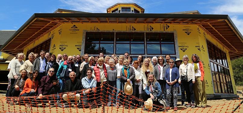 New Meditation Hall with the gang